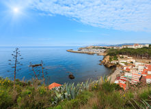 Summer sunshiny sea coast view Palamos, Spain. Royalty Free Stock Photos