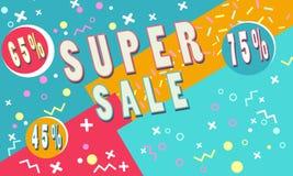 Summer Super sale banner for booklet, flyer, poster, advertising logo, leaflet for the store. Template design. The modern image for social media. Memphis Style Stock Image
