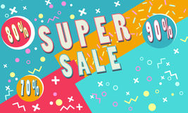 Summer Super sale banner for booklet, flyer, poster, advertising logo, leaflet for the store template design. The modern image for. Social media. Memphis Style Royalty Free Stock Photography