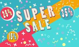 Summer Super sale banner for booklet, flyer, poster, advertising logo, leaflet for the store template design. The modern image. Summer Super sale banner for Stock Photos