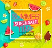 Summer super sale banner with fruits. stock illustration