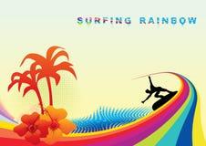 Summer surf. Summer background with surfer, vector illustration Stock Images