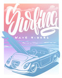 Summer Surf Print with car, Palm Trees and Lettering. Vector Illustartion Royalty Free Stock Image
