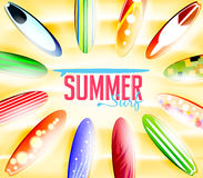 Summer Surf Typography Surrounded by Colorful Surfboards Stock Photo