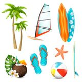 Summer Surf Vacation Items Set vector illustration