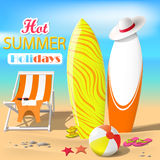Summer. Surfboards and beach ball. Sea. Recliner. Summer rest. Vector Illustration Stock Image
