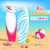 Summer. Surfboards and beach ball. Sea. Vector Illustration Royalty Free Stock Images