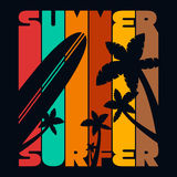 Summer Surfer T-shirt Typography Graphics, Vector Stock Image