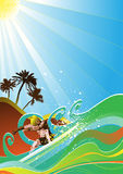 Summer surfer vector Royalty Free Stock Photo