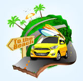 Summer Surfing Adventures Poster Design with Yellow Car Stock Photography