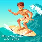 Summer surfing boy on wave vector illustration royalty free illustration