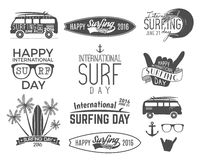 Summer surfing day graphic elements. Vector Vacation typography emblems set. Surfer party with surf symbols - shaka sign Stock Photos