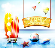 Summer Surfing Hanging Arc Sign With  Starfish and Beach ball Stock Photos