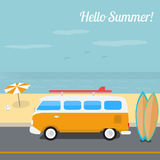 Summer surfing in the ocean beach. Summer retro vector illustration, surfing in the ocean beach Royalty Free Stock Images