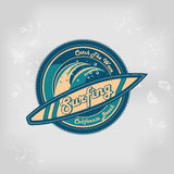Summer surfing retro vintage logo emblem Stock Photo