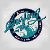 Summer surfing retro vintage logo emblem Stock Photography