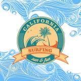 Summer surfing retro vintage logo emblem Stock Images