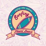 Summer surfing retro vintage logo emblem Royalty Free Stock Photo