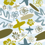 Summer Surfing seamless pattern Stock Photo