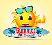 Summer Surfing Smiling Sun Character in Yellow Background Royalty Free Stock Photo