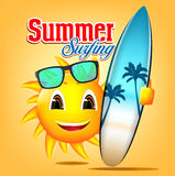 Summer Surfing Sun Character Holding Surfboard Royalty Free Stock Images