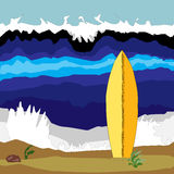 Summer surfing. Wave with summer surfboard on the coast Royalty Free Stock Photos