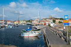 Summer in Sweden. Marstrand, Sweden – July 4, 2014: Marstrand on a sunny summer morning. Marstrand is a famous fishing village located on two islands in royalty free stock images