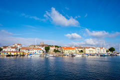 Summer in Sweden. Marstrand, Sweden – July 4, 2014: Marstrand on a sunny summer morning. Marstrand is a famous fishing village located on two islands in stock photos