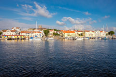 Summer in Sweden. Marstrand, Sweden – July 4, 2014: Marstrand on a sunny summer morning. Marstrand is a famous fishing village located on two islands in royalty free stock photos