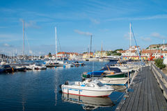 Summer in Sweden. Marstrand, Sweden – July 4, 2014: Marstrand on a tranquil sunny summer morning. Marstrand is a famous fishing village located on two royalty free stock photography
