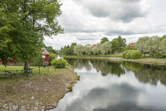 Summer by Swedish river. Scandinavian nature stock photography