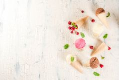 Various of ice cream flavor in cones. Summer sweet berries and desserts, various of ice cream flavor in cones pink raspberry, vanilla and chocolate with mint on royalty free stock photos