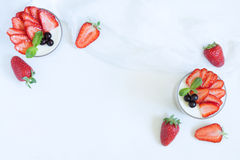 Summer sweet dessert food panna cotta in glass Royalty Free Stock Image