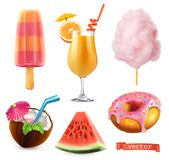 Summer, sweet food. Ice cream, orange juice, cotton candy, cocktail, watermelon and donut. 3d vector icon set. Summer, sweet food. Ice cream, orange juice vector illustration