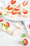 Summer sweet homemade dessert, Mini cheesecakes with strawberry royalty free stock photo