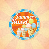 Summer sweet ice cream retro background Stock Photos
