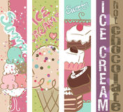 Summer Sweets banners. Vertical Summer Sweets and Ice Cream banners Royalty Free Stock Images