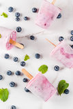 Summer sweets and desserts. Vegan food. Frozen drinks, smoothies. Ice cream popsicles from homemade Greek yogurt and fresh organic blueberries. With mint. On stock image