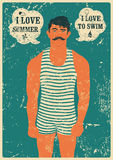 Summer Swimmer. Typographic Swimming vintage grunge poster design. Retro vector illustration. Royalty Free Stock Image