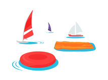 Summer Swimming Accessories Flat Design Royalty Free Stock Image