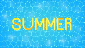 Summer. Swimming pool background and fluid Summer lettering for seasonal sale, promotion, advertisement. royalty free illustration