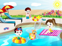 Summer Swimming Pool Fun Vector Illustration Royalty Free Stock Images