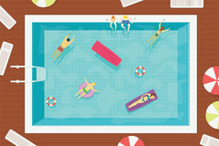 Summer swimming pool with people in water. Colorful summer holiday Stock Photography