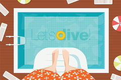 Summer swimming pool without people in water. Foot on the springboard for diving. Royalty Free Stock Photos