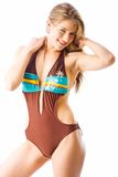 Summer swimwear. Teen model with athletic build looking good wearing a one piece swimsuit Stock Photo