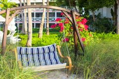 Summer swing in a beautiful luxury tropical hotel Stock Photo