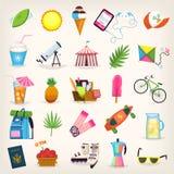 Summer symbols elements. Classic summer symbols. Bright vector icons Stock Image