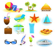 Summer symbols. Vector collection of summer symbols  on a white background Royalty Free Stock Photos