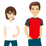 Summer T-shirt Couple. Front view of a teen couple wearing white and red and black t-shirt Royalty Free Stock Photography