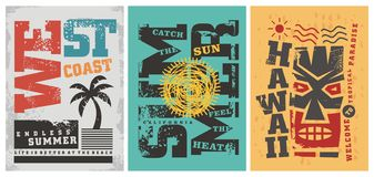 Summer t shirt graphic designs. West coast, Hawaii, California sun, surf, beach and ocean themes. Vector card poster or tee template royalty free illustration